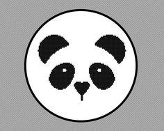 Kawaii Panda Face Cross Stitch Pattern by StitchingWithRetta on Etsy