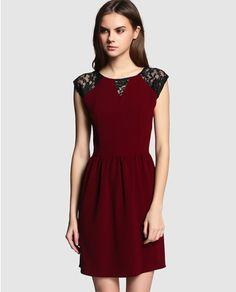 Vestido de mujer Naf Naf rojo con encaje