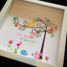 Kids Animal Tree Box Frame Picture (personalised with your words) £14.99