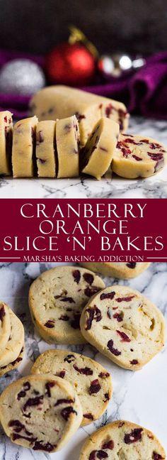 Cranberry Orange Slice 'n' Bake Cookies | http://marshasbakingaddiction.com /marshasbakeblog/