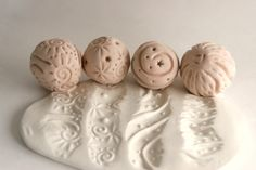 Clay Ball Stamps FOUR Texture Spheres Giselle No. 5
