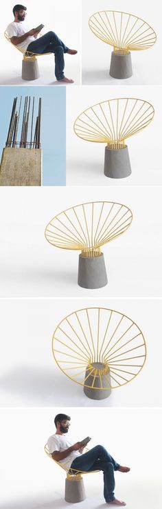 This chair is made from bent steel rods embedded in a concrete base | CONTEMPORIST