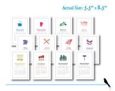 Printable Wall Calendar  Simple Modern Rustic Font