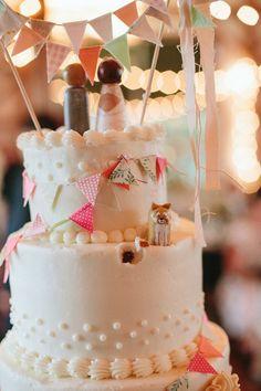 naughty pup cake topper // photo by Kate Miller Photography // http://ruffledblog.com/whimsical-illinois-barn-wedding