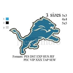 Detroit Lions logo embroidery design machine embroidery pattern 3 sizes by NewEmbro, $2.99 USD
