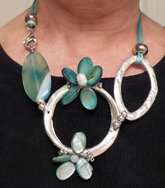 "Chunky Statement Necklace 18""Teal"