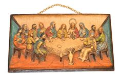 The Last Supper Wall Plaque Vintage Wall Hanging 3 Dimensional Roman Italy Home Decor