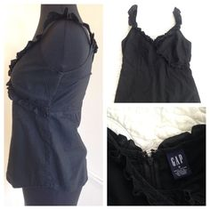 GAP black ruffled top 100%cotton black top. Zipper and clasp in the back. Ruffles on front and back, and all the way up the straps. A classic piece, can be dressed up or down  GAP Tops