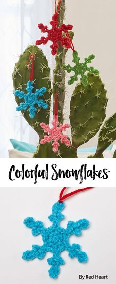 Colorful Snowflakes free crochet pattern in Super Saver.