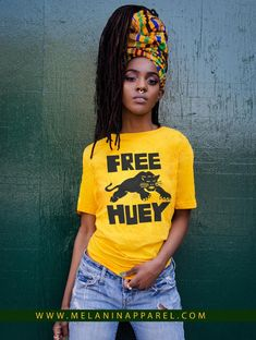 """Black Panther Party """"Free Huey"""" retro t-shirt and tank available now. Please visit www.melaninapparel.com #blackpanther #blackpanthers #freehuey"""