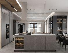 DE&DE/Gorgeous minimalism with wooden accents on Behance Apartment Room, Modern Kitchen, Minimalism, Luxury Design, Home Interior Design, Kitchen Range Hood, Interior Design Furniture, Furniture Design, Kitchen Design