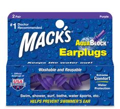 Mack's AquaBlock pre-molded flanged earplugs are constructed of silicone and designed for super soft, super comfortable, waterproof protection.