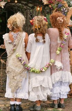 Young Gypsy Maidens at Their First Festival of Lights Still Practiced in Parts of Russia