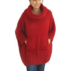 Winter Red Hand Knitted Sweater With Accordion Hood and Pocket Plus... (6,400 INR) ❤ liked on Polyvore featuring tops, sweaters, black, women's clothing, plus size oversized sweaters, red oversized sweater, thin sweaters, lightweight sweaters and red top