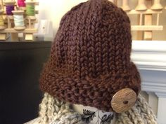 $28  Big Button Hat in Chocolate