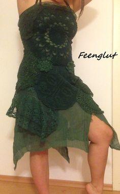 Handgemachtes Häkel Mandala Kleid grünes Waldland von Feenglut