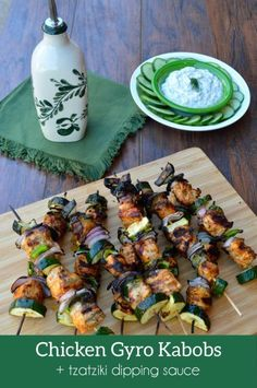 Chicken Gyro Kabobs with Dairy-free Tzatziki Dipping Sauce. Flavorful kabobs with purple onion, zucchini and gyro-seasoned chicken.