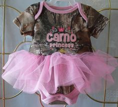 Camo Princess onesie with pink tulle tutu on Etsy, $23.00