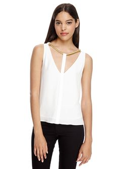 On ideel: BCBGMAXAZRIA Nydia V-Neck Top with Rope Trim