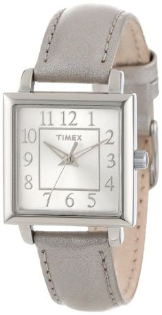 Timex Womens T2P0952M Square Dial Metallic Taupe Leather Strap Watch * You can find more details by visiting the image link.