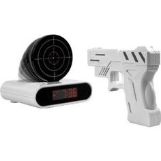 gun & target alarm clock. cool concept i think id get to irritated trying to turn it off since id be sleepy to aim though