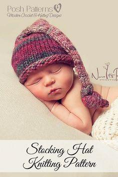 Knitting Pattern -- a cute top knot stocking hat pattern. By Posh Patterns.