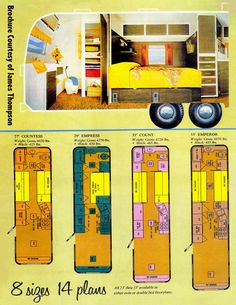 1969 Streamline Trailer Brochure page on floor plans and sizes. Check out the photo showing orange shag carpet!