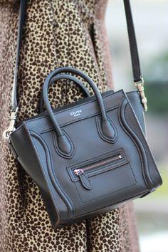 56620490b684 celine luggage purse handbag black leather Celine Nano Bag