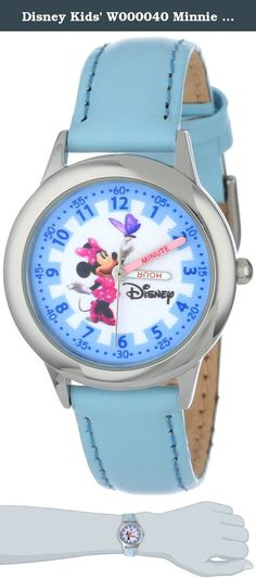 """Disney Kids' W000040 Minnie Mouse Stainless Steel Time Teacher Watch. Keep track of time with this officially licensed Disney stainless steel kid's time teacher watch by ewatchfactory on your wrist. The timepiece displays artwork from your favorite Disney character on the face, and is designed with labeled """"hour"""" and """"minute"""" hands to help young ones learn how to tell time. This classic watch has a polished and matte steel finish and a precision Japanese movement for accurate time keeping..."""