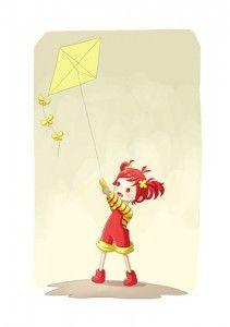 Digital illustration Girl with Kite Beach Illustration, Fantasy Illustration, Framed Wall Art, Wall Art Prints, Pathfinder Character, Go Fly A Kite, Original Art For Sale, Custom Canvas, Girl Cartoon