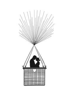 Ce kit dempreinte A3 bel est parfait pour une fête de fiançailles, de mariage ou danniversaire. Mettant en vedette la silhouette dun couple romantique planer loin dans un « ballon à air chaud » des empreintes digitales. Limpression est livré complete avec les cordes, vos invités ajouter les « ballons » avec leurs empreintes digitales. Chaque kit peut être entièrement personnalisé avec les noms du couple heureux et date spéciale et leurs initiales peuvent être placés dans le coeur, si vous…