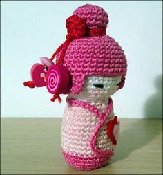 Pink Kokeshi Amigurumi by Ana Artedetei free crochet pattern on Ravelry at http://www.ravelry.com/patterns/library/pink-kokeshi-amigurumi