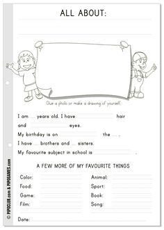 "Worksheet ""All about me"" #English #kids #ESL #Education #preschool #Kinder #Pipo #backtoschool"