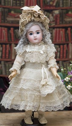 Pretty Wide-Eyed French Bisque Bebe Steiner,Figure A Antique dolls at Respectfulbear.com
