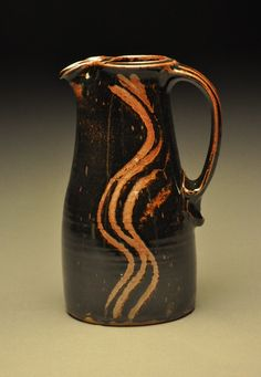 Tenmoku-glazed Pitcher by Kent Harris Pottery. American Made. 2013 Buyers Market of American Craft. americanmadeshow.com