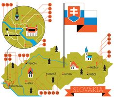 Slovakia, Cities, Roads & Factories by Loulou and Tummie , via Behance Information Design, Information Graphics, Bratislava, Simple Illustration, Graphic Design Illustration, Train Map, Metro Map, City Road, Old World Maps