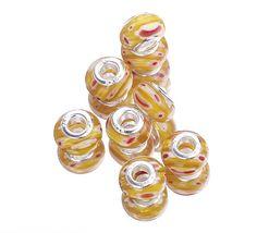 Yellow Flower Rondelle 9x14mm Millefiori Cat Eye Glass European Murano Bead Fit Bracelet