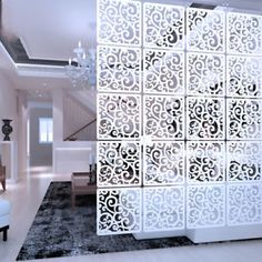 White Wood-plastic Hanging Screen Room Divider Partition Wall Art Home Decor Wood Room Divider, Hanging Room Dividers, Room Divider Curtain, Room Divider Screen, Room Screen, Support Bougie, Home Panel, Decorative Screens, White Paneling