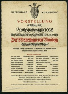 German 1938 Party Day Wagner Opera Ad Poster