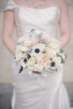 Anemone-filled bouquet. Photography: Britta Hundertmark - brittamariephotography.com  Read More: http://www.stylemepretty.com/midwest-weddings/2014/04/28/classic-ballroom-wedding-at-the-langham-chicago/