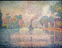 """L'Hirondelle, Steamer on the Seine"", 1901. Paul Signac (11 November 1863 – 15 August 1935)"