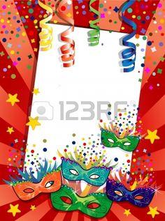 Etiqueta de carnaval m scaras ideales para fiestas con espacio para insertar su propio texto la tran Foto de archivo
