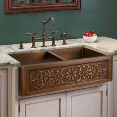 """36"""" Flower Motif Double Well Copper Farmhouse Sink"""