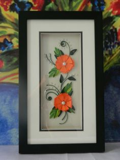 Handmade Quilled Art work framed beautifully and elegantly . This piece of work is from a handicapped couple from Pune, India
