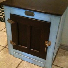 Refinished, painted, distressed end table ice box chest. Robins egg blue. Glazed. Refurbished furniture project