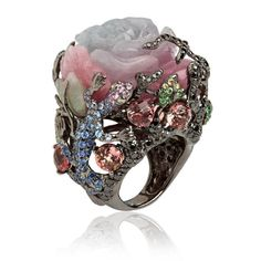 Sapphire Rings white gold, diamond, sapphire garnet, jade, and tourmaline Fantasie Dusty Rose ring by Wendy Yue for Annoushka Jewelry Rings, Unique Jewelry, Vintage Jewelry, Jewelry Accessories, Fine Jewelry, Jewelry Design, Gold Jewelry, Handmade Jewelry, Sapphire Jewelry