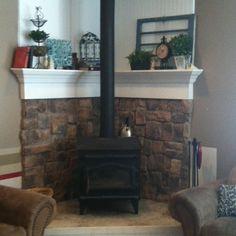 Wood burning stove decor corner ideas for 2019 Fireplace Hearth, Stove Fireplace, Fireplace Design, Fireplace Ideas, Mantle Ideas, Corner Fireplaces, Country Fireplace, Craftsman Fireplace, Simple Fireplace