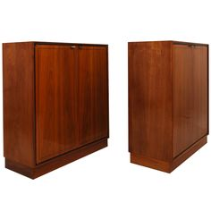 pair of mid century modern bookcases walnut wood