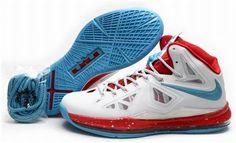 45422d65247244 Nike Lebron 10 White Red Blue Discount Nikes