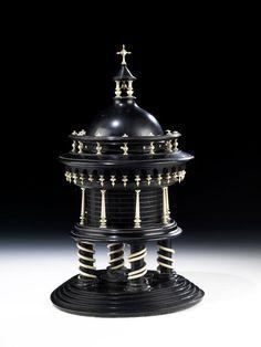 An ebony & ivory tempietto; on a five steps base, the dome & masonry…